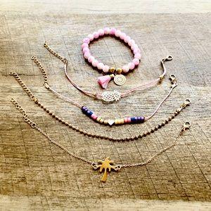 New! 5 Piece Pink Boho Layered Bracelets Set